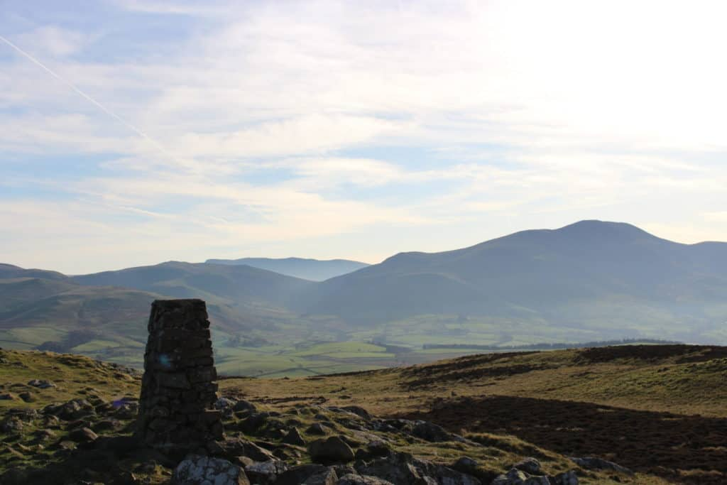 Trig Cairn on Binsey, looking toward Overwater and the back of Skiddaw